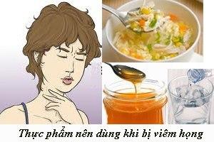 Thực phẩm nên dùng khi bị viêm họng